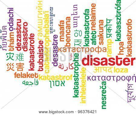 Background concept wordcloud multilanguage international many language illustration of disaster