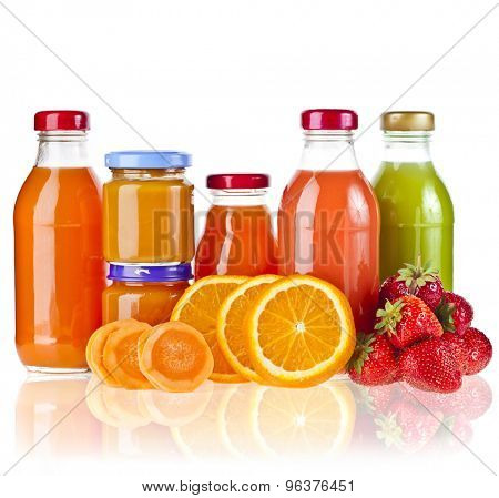 Mixed from many fresh fruits and juices in glasses on white