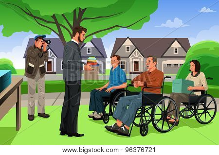 Man Giving Donation To The Disable People In An Event