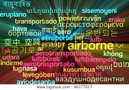 Background concept wordcloud multilanguage international many language illustration of airborne glowing light