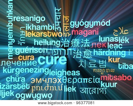 Background concept wordcloud multilanguage international many language illustration of cure glowing light
