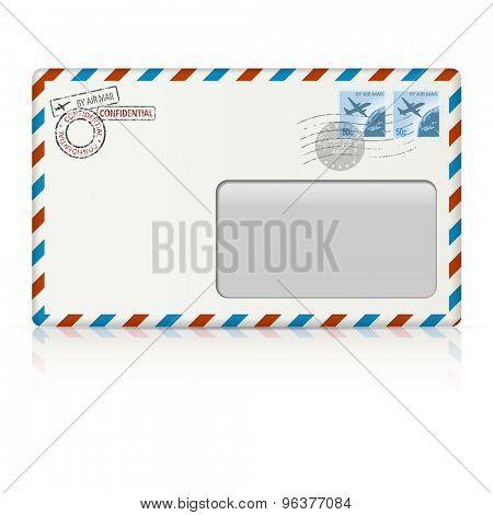 Air mail envelope with postal stamp on white background. illustration.