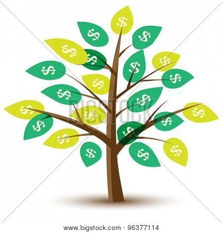 Money Tree with leaves in dollars. Illustration.