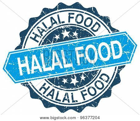 Halal Food Blue Round Grunge Stamp On White