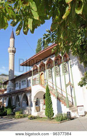 Minaret Bakhchisarai Palace Lit Afternoon Sun. Crimea