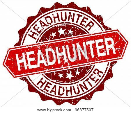 Headhunter Red Round Grunge Stamp On White
