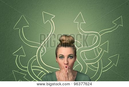 Young student with thoughtful expression with tangled arrows coming out of her back