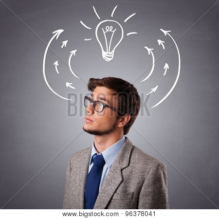 Young man standing and thinking with arrows and light bulb overhead