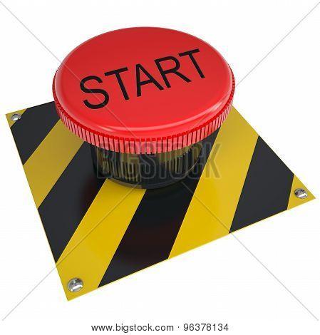 Push button start on white