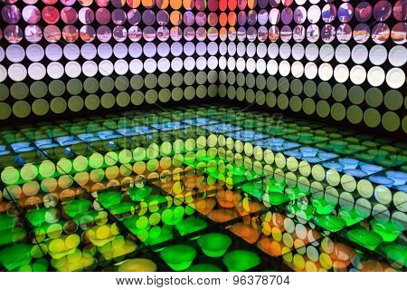 MILAN, ITALY-MAY 19, 2015: food plates displayed on interior lighting room of the Spain pavillion at EXPO 2015, in Milan.