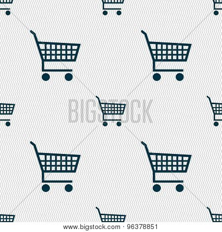 Shopping Cart Icon Sign. Seamless Pattern With Geometric Texture. Vector