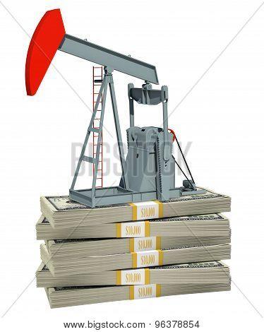 Pump jack on stack of money