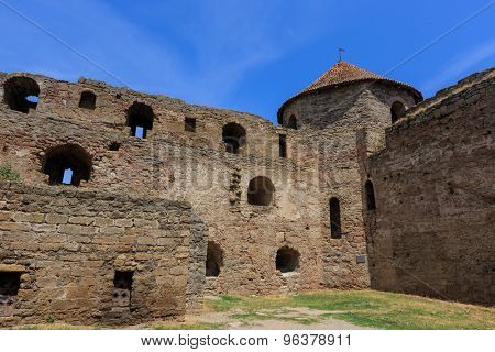Old wall and tower of Belgorod-Dnestrovsky castle