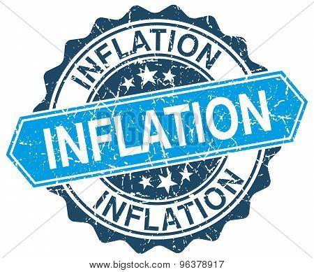 Inflation Blue Round Grunge Stamp On White