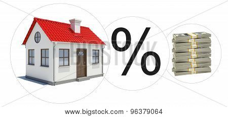 House with money and percent sign