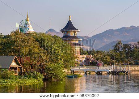 Wat Thawornwararam temple in Kanchanaburi, Thailand