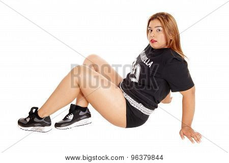 Asian Girl Sitting On Floor, Sports Clothing.