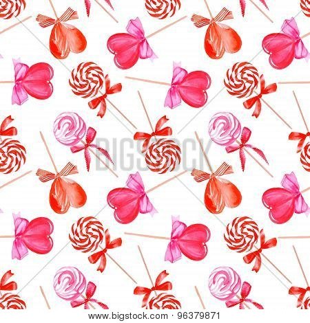 Pink Lollypops Seamless Vector Pattern