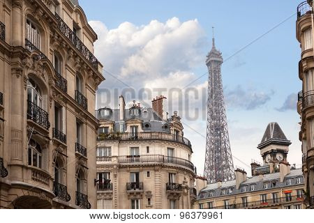 Eiffel tower in Paris. View from the city streets