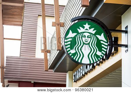 KRABI, THAILAND - July 18, 2015: Starbucks Coffee. Starbucks is the largest coffeehouse company in the world, with 20,891 stores in 62 countries.