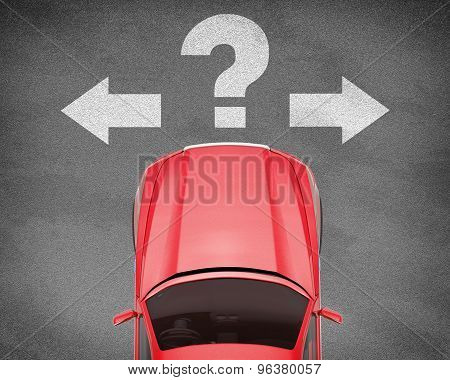 Car on grey texture background with signs