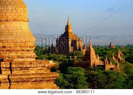 Scenic View Of Sulamani Temple With Brick Pagoda Deail, Bagan, Myanmar