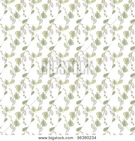 Seamless Ecology Pattern With Hand Drawn Leaves. Vector Background.