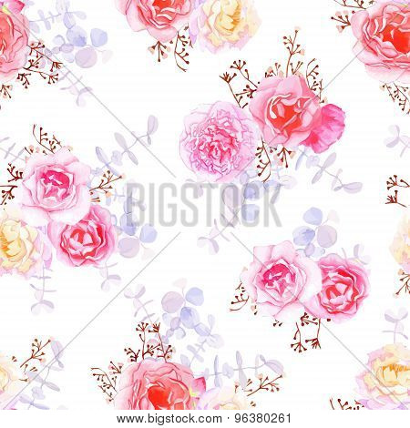 Purple Sweet Roses Seamless Vector Print