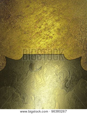 Grunge Gold Background With Frame Of The Metal Plates. Element For Design. Template For Design. Abst