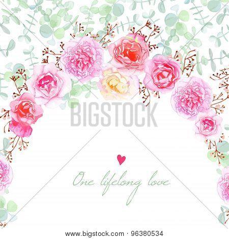 Wedding Flowers Vector Card