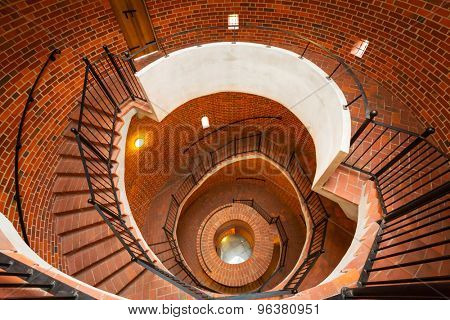 GRUDZIADZ, POLAND - JUNE 24, 2015: Staircase of the Klimek observatory tower in Grudziadz, Poland. 30 meters high cylindrical tower called Klimek is the part of destroyed teutonic castle in Grudziadz.