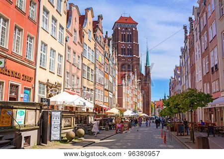GDANSK, POLAND - MAY 11, 2015: Architecture of old town in Gdansk, Poland. Baroque architecture of the Gdansk is one of the most notable tourist attractions of the city.