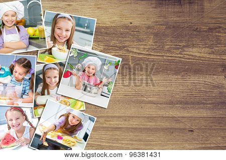 a background on a wooden board photo of a pretty girl eat breakfast varied food