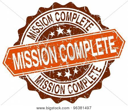 Mission Complete Orange Round Grunge Stamp On White
