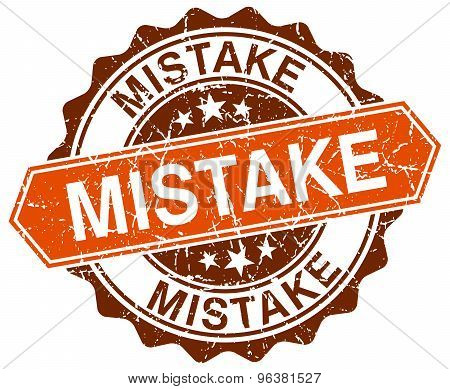 Mistake Orange Round Grunge Stamp On White