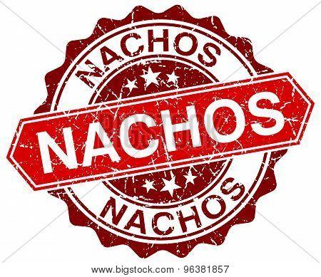 Nachos Red Round Grunge Stamp On White