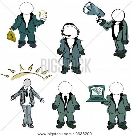 Drawn colored puppet people. Vector illustration