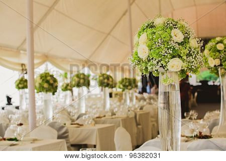 wedding set up in garden inside beach