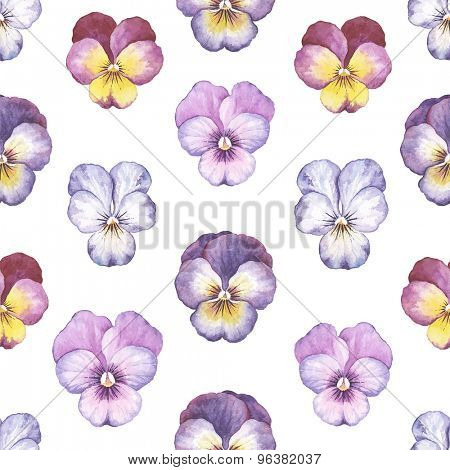 Seamless background of beautiful watercolor pansy, vector illustration.