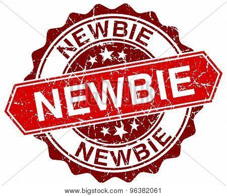 Newbie Red Round Grunge Stamp On White