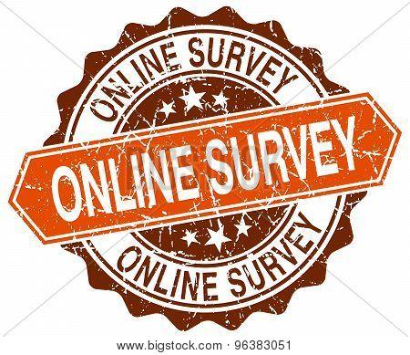 Online Survey Orange Round Grunge Stamp On White
