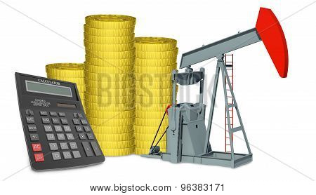 Oil pump with stack of coins