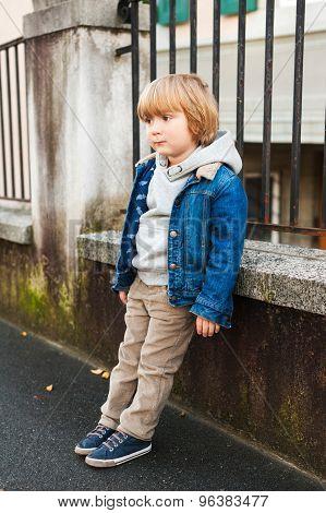 Fashion portrait of adorable little boy