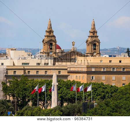 view on the top of the St. John`s Co-Cathedral in Valletta in Malta