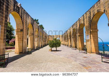 side terrace in Upper Barrakka Gardens in Valletta in Malta