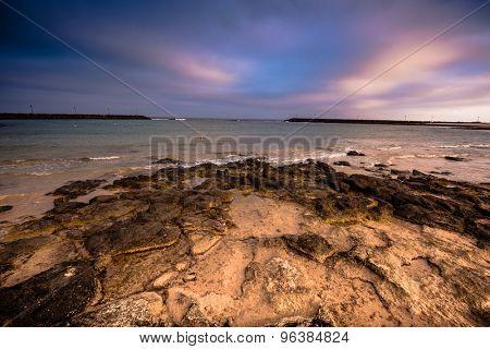 beautiful violet sky meets sea on sunset