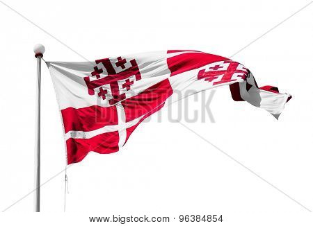 photo of maltese flag isolated on a white background
