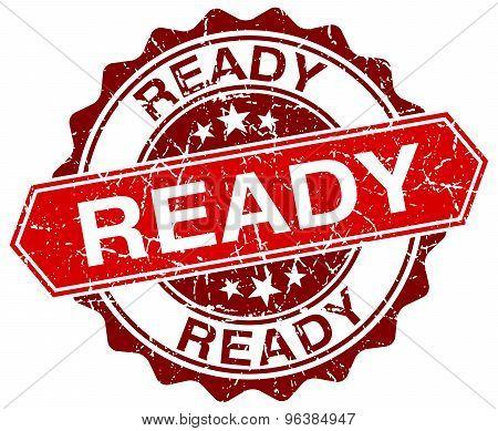 Ready Red Round Grunge Stamp On White