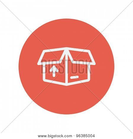 Box with arrow up inward, incoming, loading thin line icon for web and mobile minimalistic flat design. Vector white icon inside the red circle.