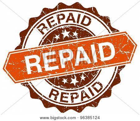 Repaid Orange Round Grunge Stamp On White